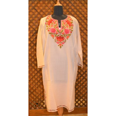 Charming Ivory Ari Embroidered Pheran