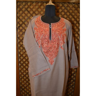 Natural Tan Aari Embroidered Pheran