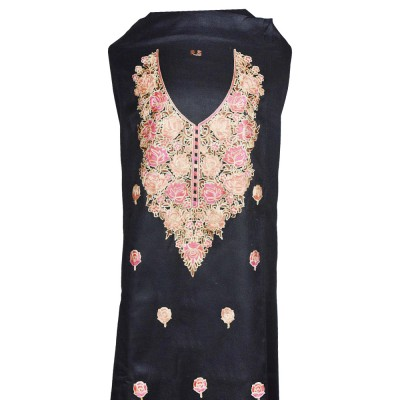 Black Floral Ari Embroidery Kashmiri Suit