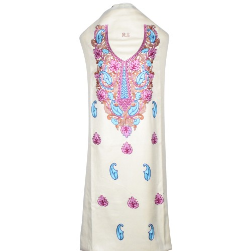 White Floral Neck Ari Embroidered Suit