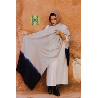 Grey and Oxford Blue Pure Pashmina Stole