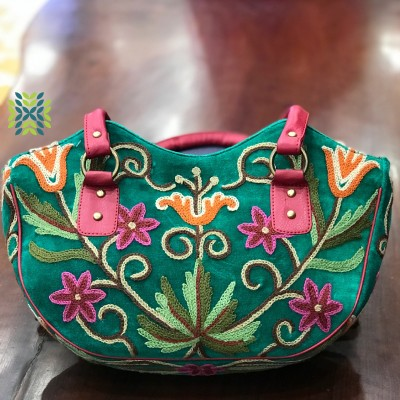 Dark Green Chinar Embroidered Bag