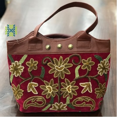 Chestnut Brown Crewel Embroidered Bag