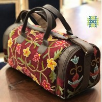Burnt umber Crewel Embroidered Travel Bag