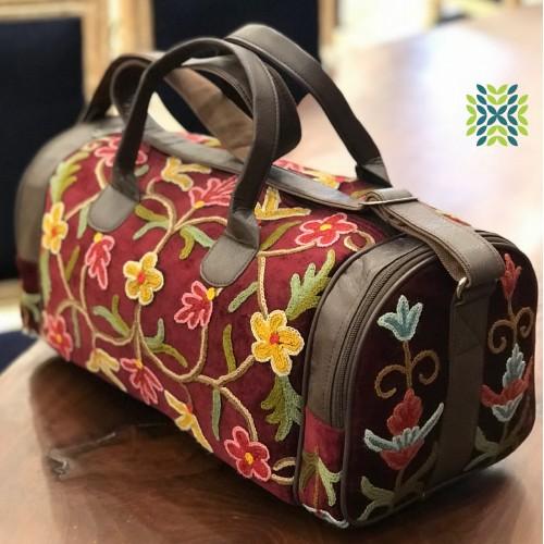 Burnt umber Crewel Embroidered Travel Bag