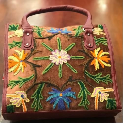 Chocolate Velvet Floral Embroidered Bag