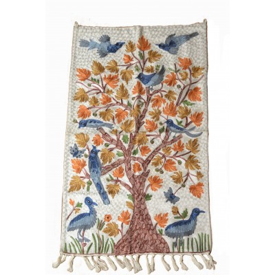 Floral White Tree of Life handcrafted Rug