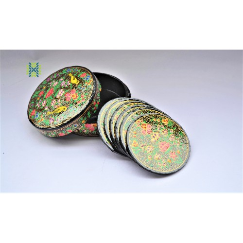 Multi Color Paper Machie Coaster Set