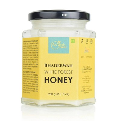 Aswah Organic Bhaderwah White Forest Honey, Creamy,100 % Pure, Unfiltered, Natural 250g