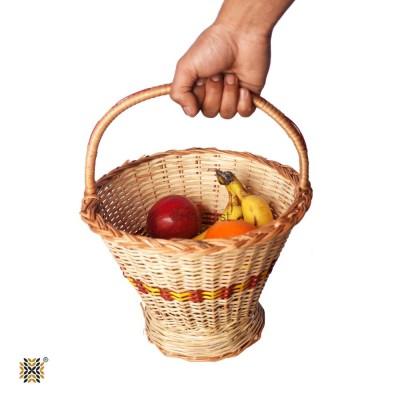 Kashmir Wicker Willow Vegetable / Fruit Basket With Handle , Handmade (Medium)