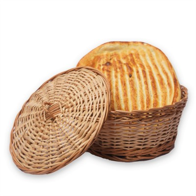 Kashmir Wicker Willow Chapati/Roti Container with Lid, Handmade Eco friendly (Medium)