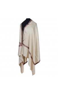Honeydew White Ari Embroidered Shawl