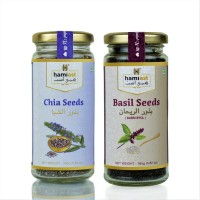 Raw Chia Seeds and Basil Seeds Combo, Healthy Super Food (165g Each)