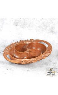 KASHMIR WALNUT WOOD HAND CARVED PAISLEY DESIGN DRY FRUIT BOWL