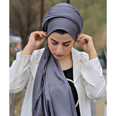 Grey Satin Hijab