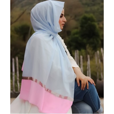 Pink and Sky Duo Georgette Hijab