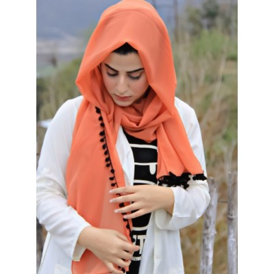 Rusty Pompom Georgette Hijab