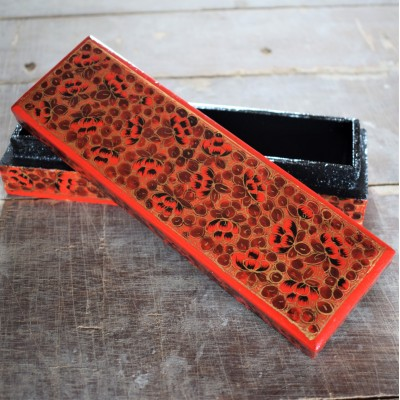 Autumn Orange Floral Paper Mache Pencil Box
