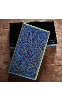Azure Blue Floral Paper Mache Flatbox