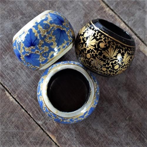 Assorted Handmade Paper Mache Napkin Ring Set (Set of 3)