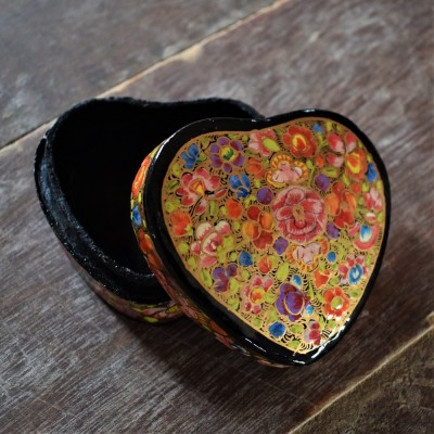 Multi Hued Florets Heart Shaped Paper Mache Ring Box