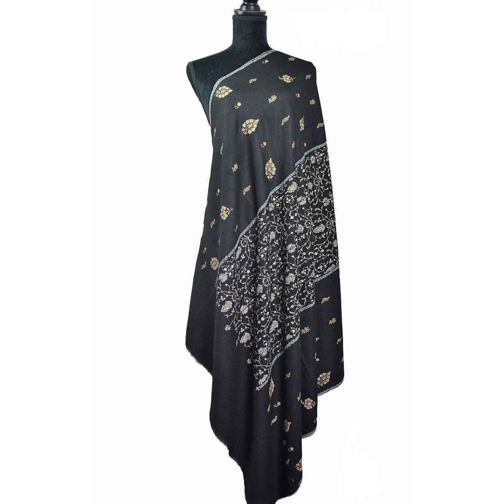 Buy Online Pure Black Pashmina Shawl With Sozni Work At