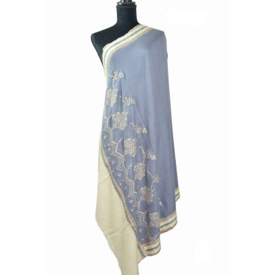 Grey Pashmina Shawl With Cream Patchwork