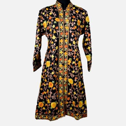 Black Floral Aari Embroidered Jacket