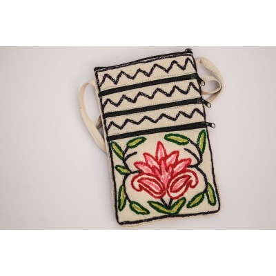 White Crewel Short Sling Pouch