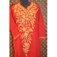 Royal Tomato Red With Golden Embroidery Pheran