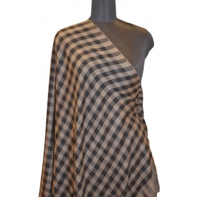 Black and Natural Brown Checkered Pashmina Shawl