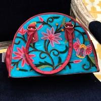 Aqua Turquoise Crewel Embroidered Bag