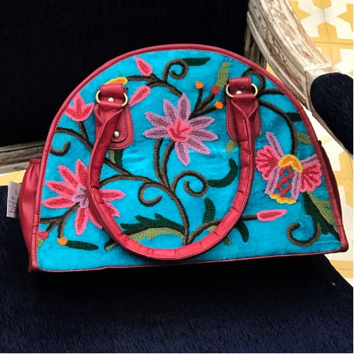 Aqua Turquoise Crewel Embroidered Bag