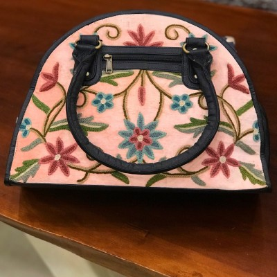 Mimi Pink Embroidered Crewel Handbag